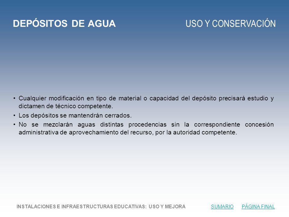 DEPÓSITOS DE AGUA USO Y CONSERVACIÓN