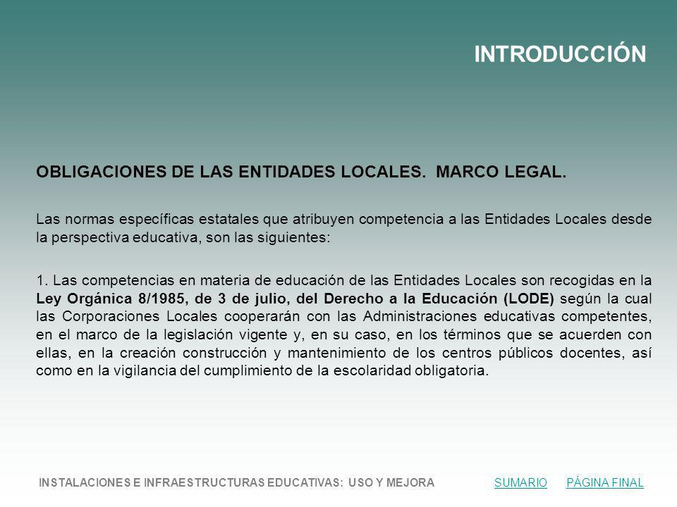 INTRODUCCIÓN OBLIGACIONES DE LAS ENTIDADES LOCALES. MARCO LEGAL.