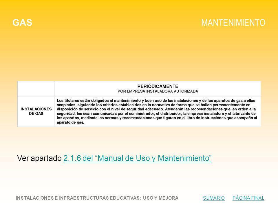 GAS MANTENIMIENTO. Ver apartado 2.1.6 del Manual de Uso y Mantenimiento