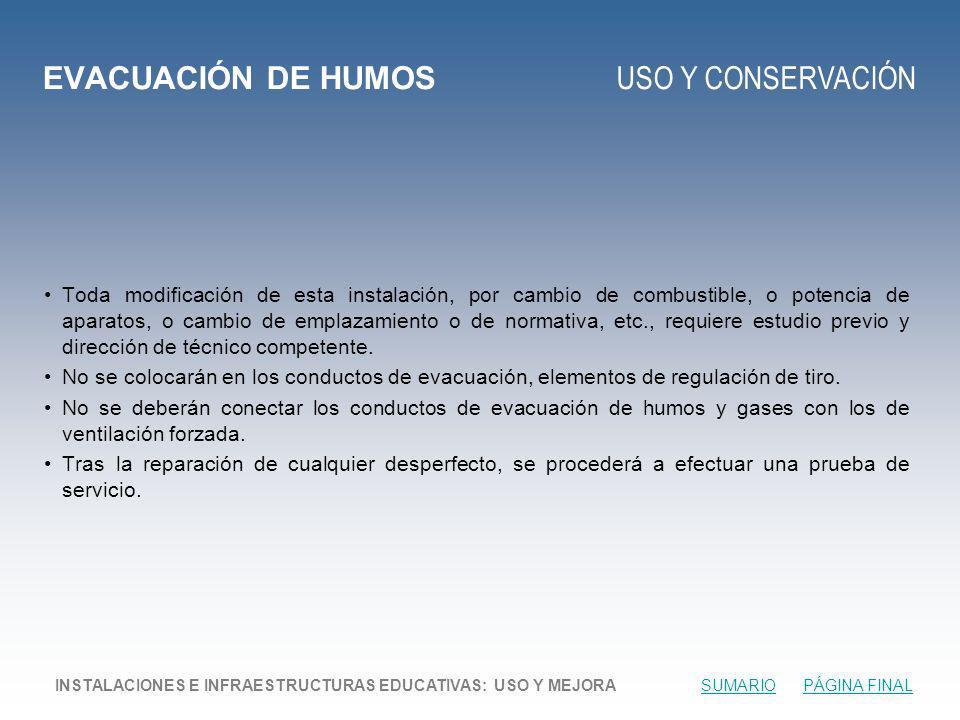 EVACUACIÓN DE HUMOS USO Y CONSERVACIÓN