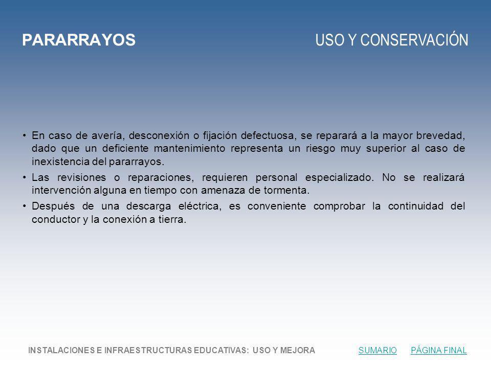 PARARRAYOS USO Y CONSERVACIÓN