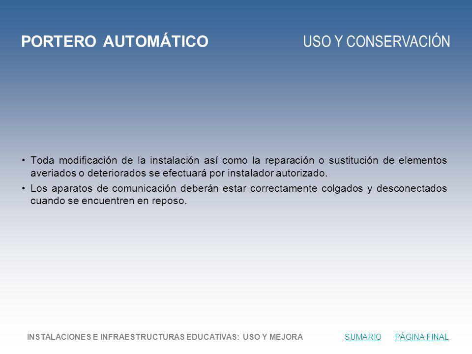 PORTERO AUTOMÁTICO USO Y CONSERVACIÓN