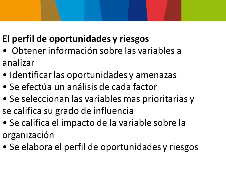 El perfil de oportunidades y riesgos