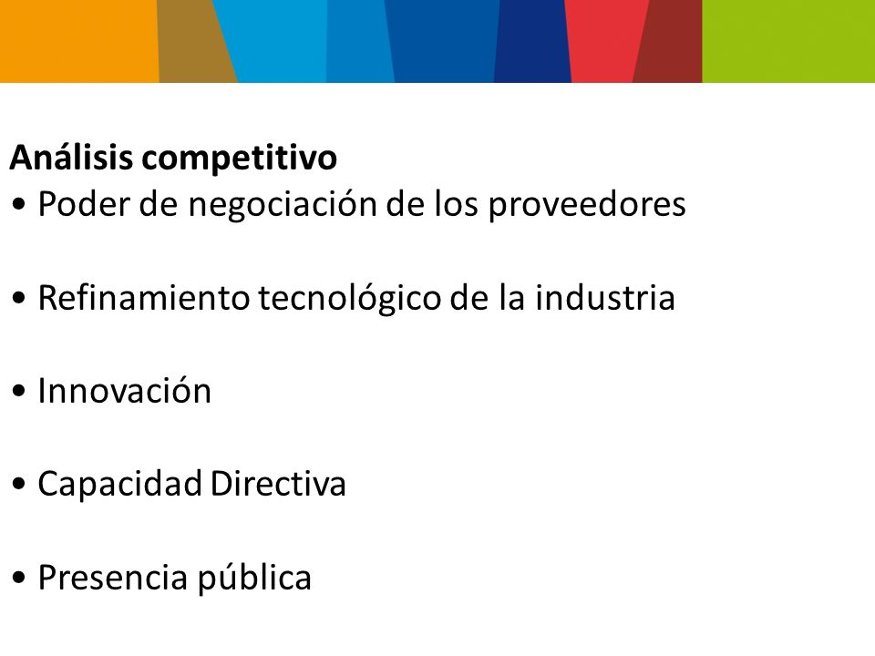 Análisis competitivo Poder de negociación de los proveedores. Refinamiento tecnológico de la industria.