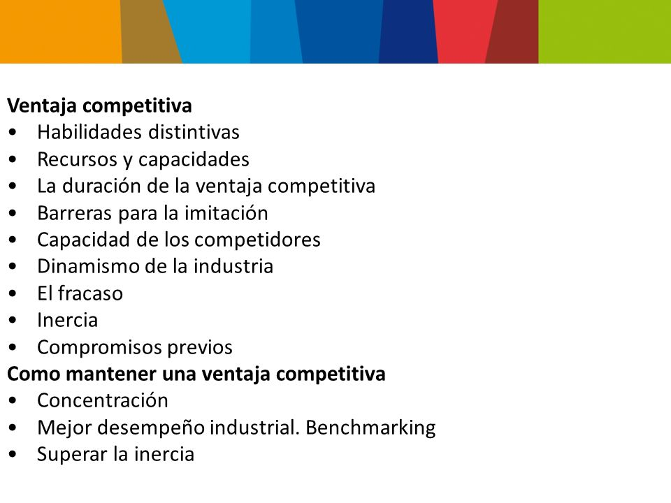 Ventaja competitiva Habilidades distintivas. Recursos y capacidades. La duración de la ventaja competitiva.