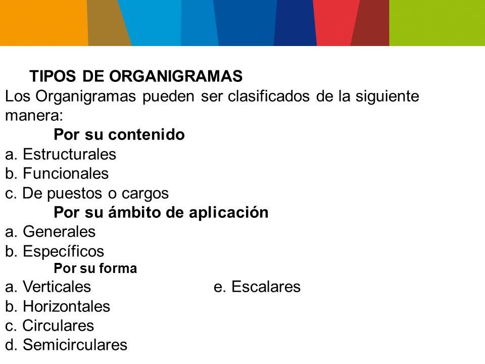 Los Organigramas pueden ser clasificados de la siguiente manera: