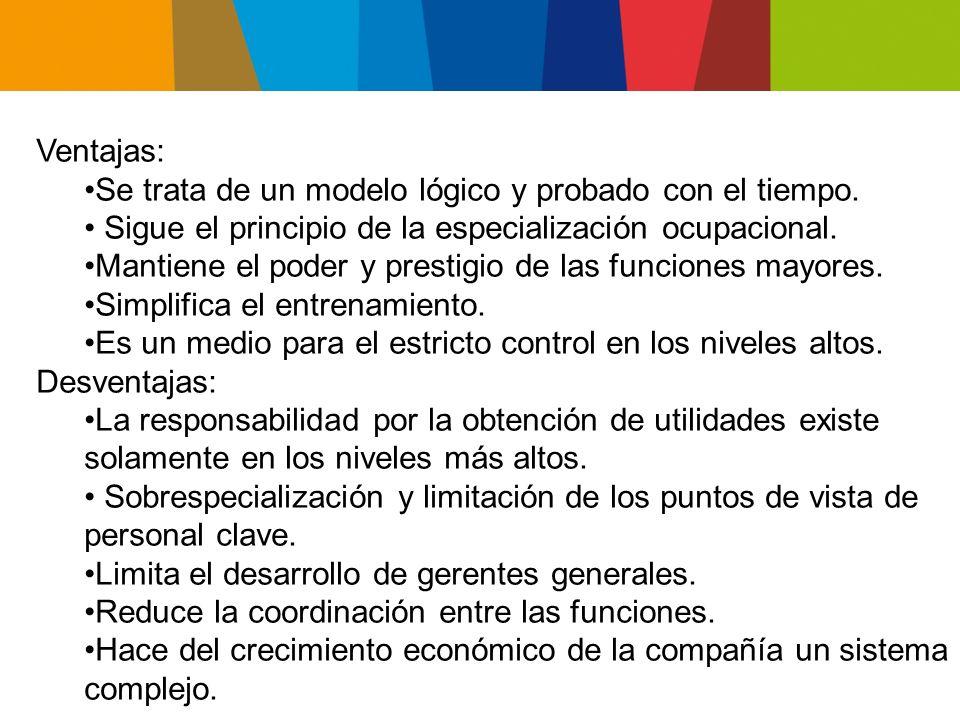 Ventajas: Se trata de un modelo lógico y probado con el tiempo. • Sigue el principio de la especialización ocupacional.