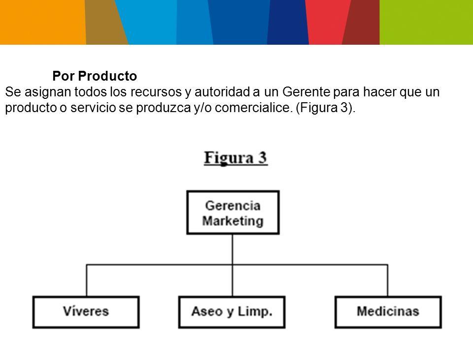 Por Producto Se asignan todos los recursos y autoridad a un Gerente para hacer que un producto o servicio se produzca y/o comercialice.