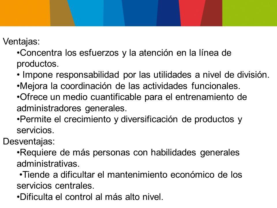 Ventajas: Concentra los esfuerzos y la atención en la línea de productos. • Impone responsabilidad por las utilidades a nivel de división.