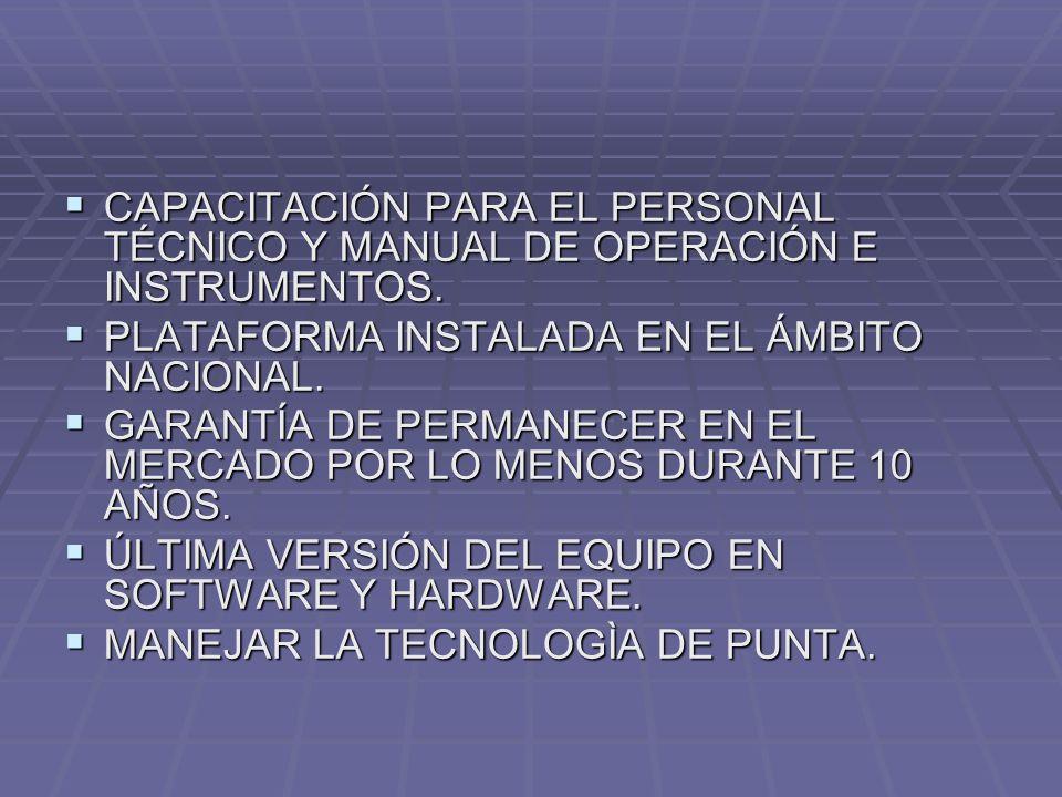 CAPACITACIÓN PARA EL PERSONAL TÉCNICO Y MANUAL DE OPERACIÓN E INSTRUMENTOS.