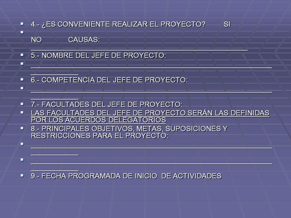 4.- ¿ES CONVENIENTE REALIZAR EL PROYECTO SI