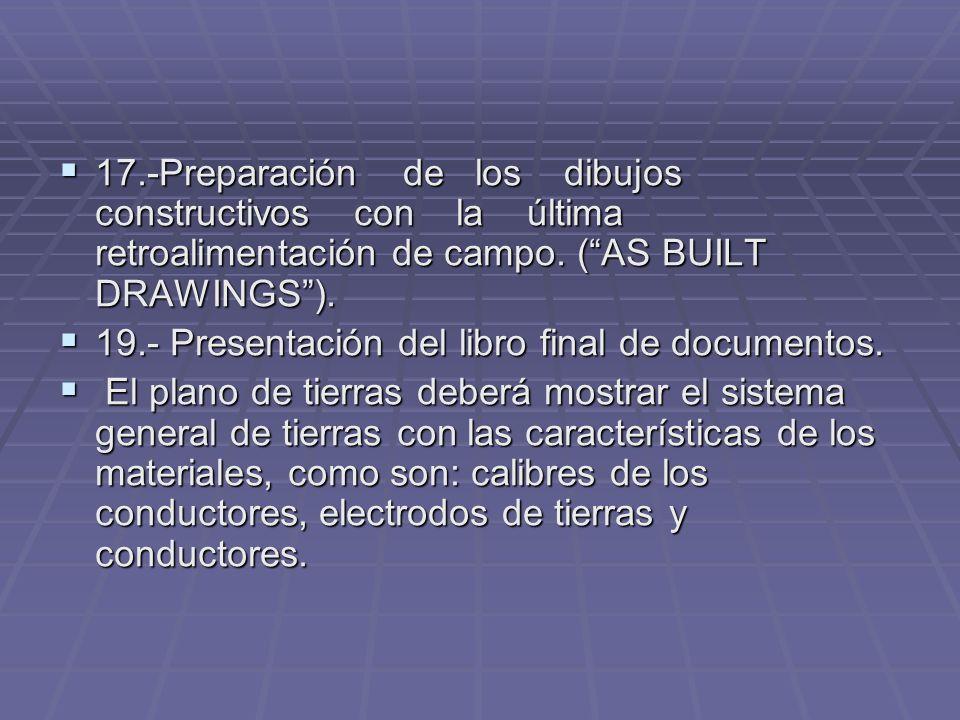 17.-Preparación de los dibujos constructivos con la última retroalimentación de campo. ( AS BUILT DRAWINGS ).