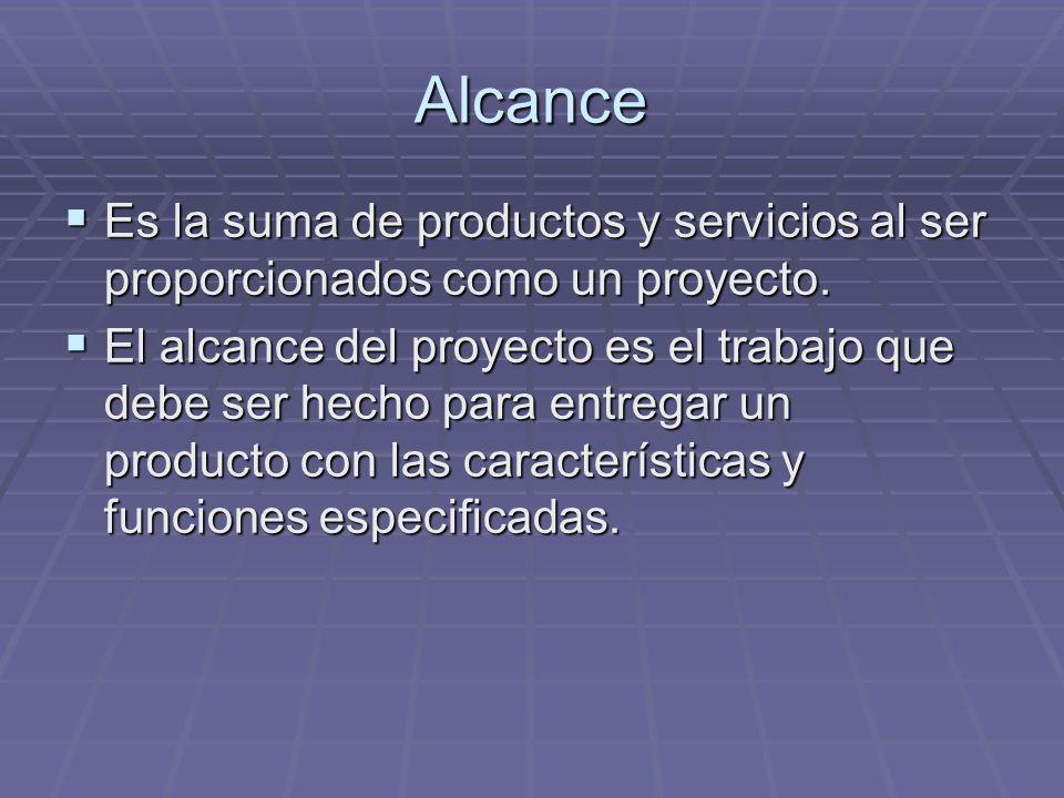 Alcance Es la suma de productos y servicios al ser proporcionados como un proyecto.