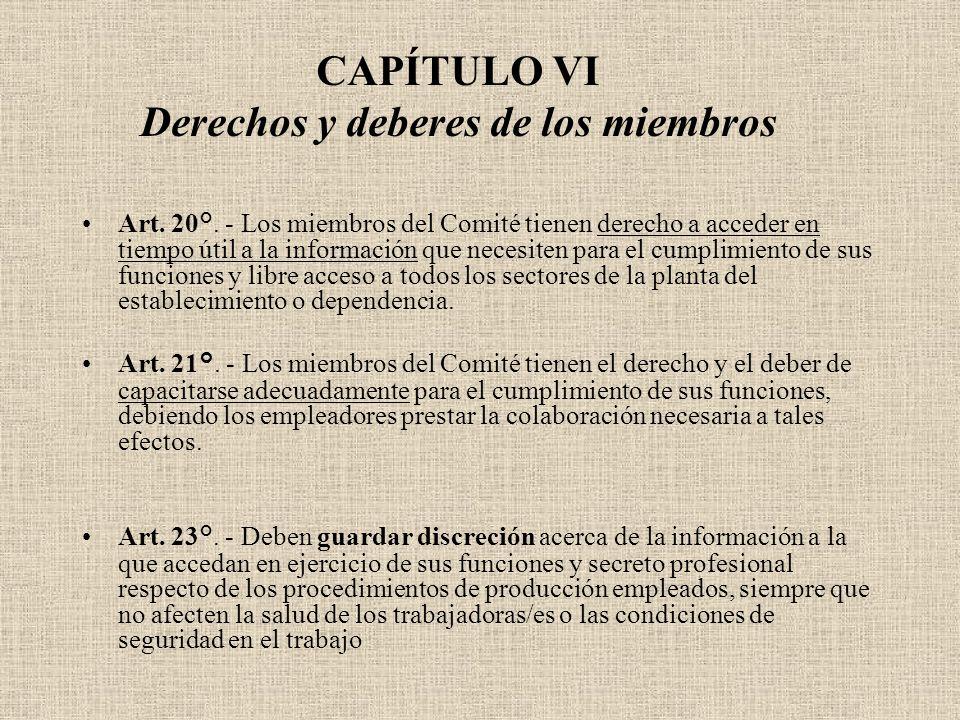 CAPÍTULO VI Derechos y deberes de los miembros