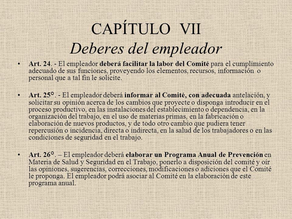 CAPÍTULO VII Deberes del empleador