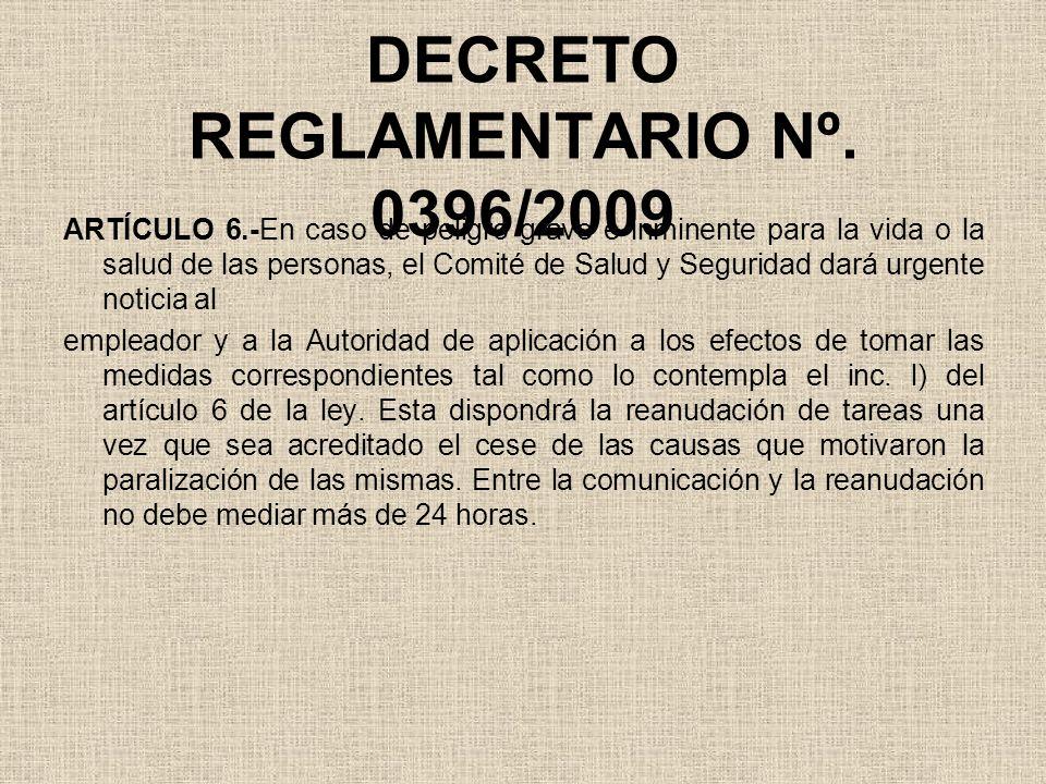 DECRETO REGLAMENTARIO Nº. 0396/2009