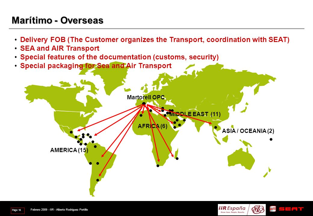 marzo de 2017 Marítimo - Overseas. Delivery FOB (The Customer organizes the Transport, coordination with SEAT)