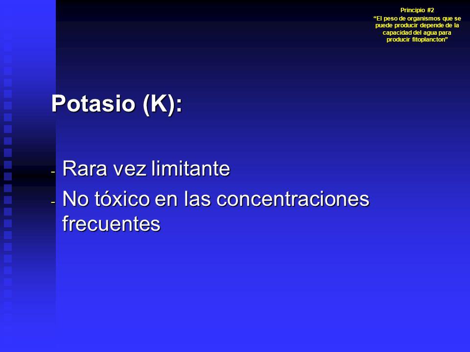 Potasio (K): Rara vez limitante