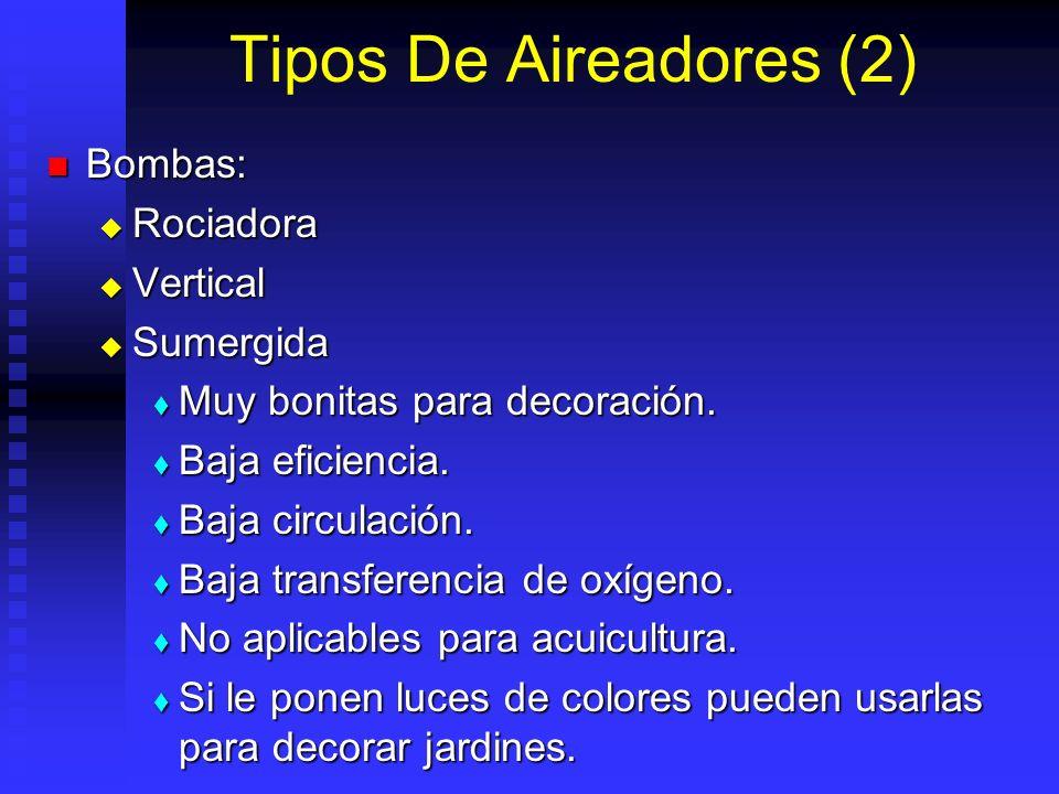 Tipos De Aireadores (2) Bombas: Rociadora Vertical Sumergida