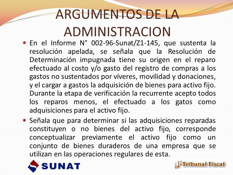 ARGUMENTOS DE LA ADMINISTRACION