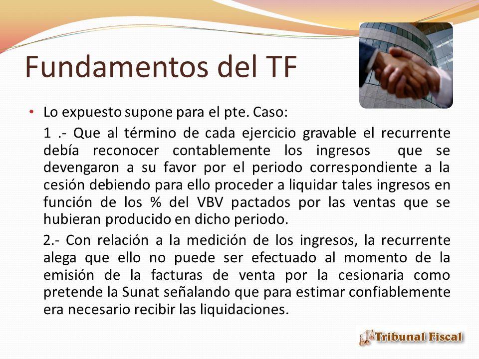 Fundamentos del TF Lo expuesto supone para el pte. Caso: