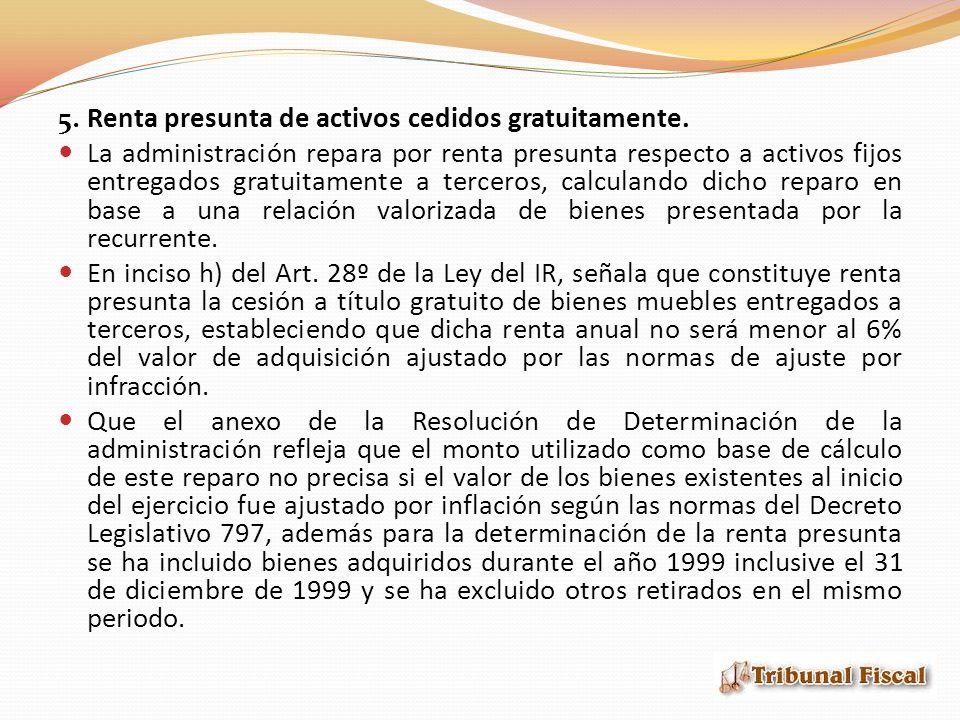 5. Renta presunta de activos cedidos gratuitamente.