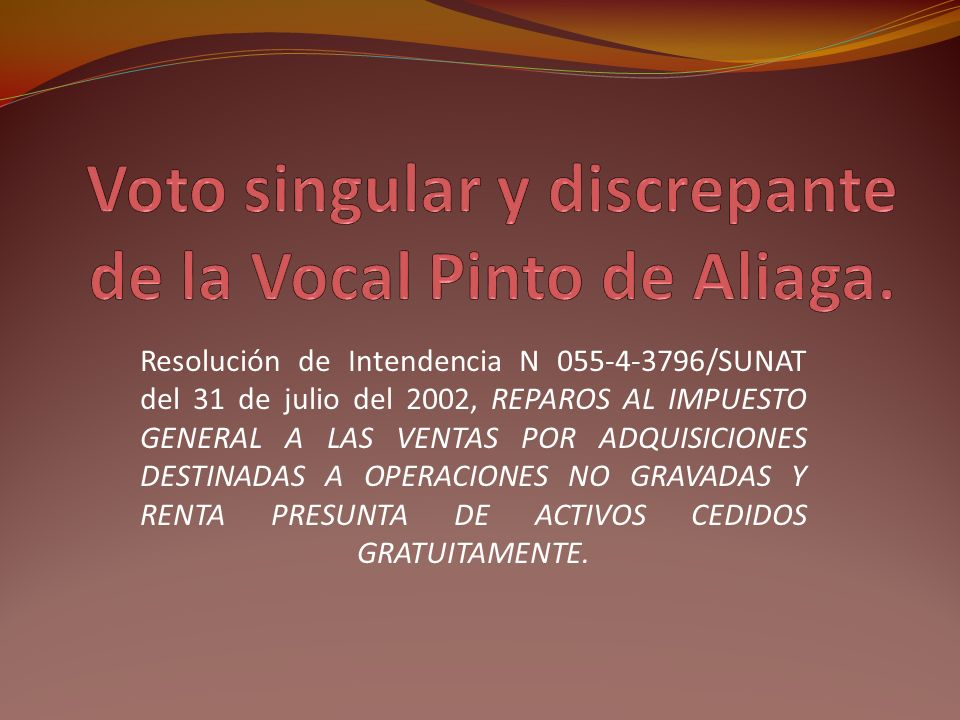 Voto singular y discrepante de la Vocal Pinto de Aliaga.