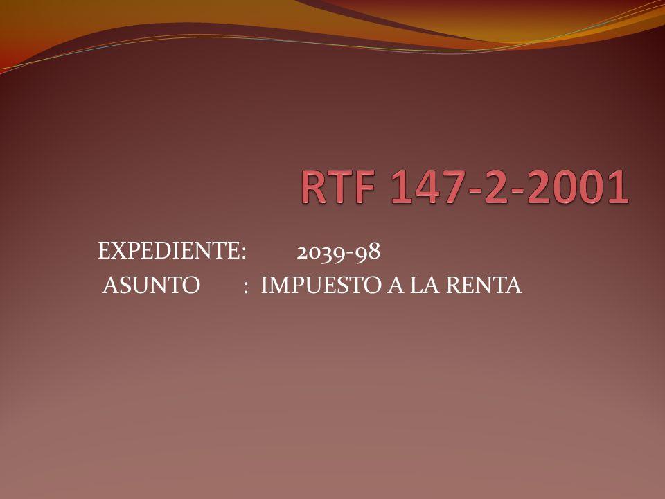 EXPEDIENTE: 2039-98 ASUNTO : IMPUESTO A LA RENTA