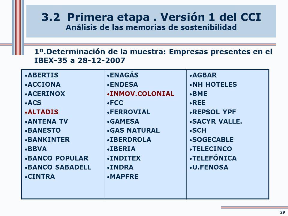 3.2 Primera etapa . Versión 1 del CCI Análisis de las memorias de sostenibilidad