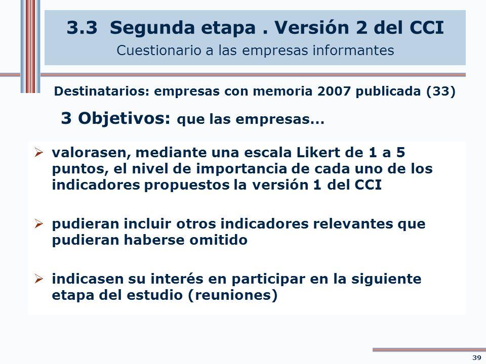 3.3 Segunda etapa . Versión 2 del CCI Cuestionario a las empresas informantes
