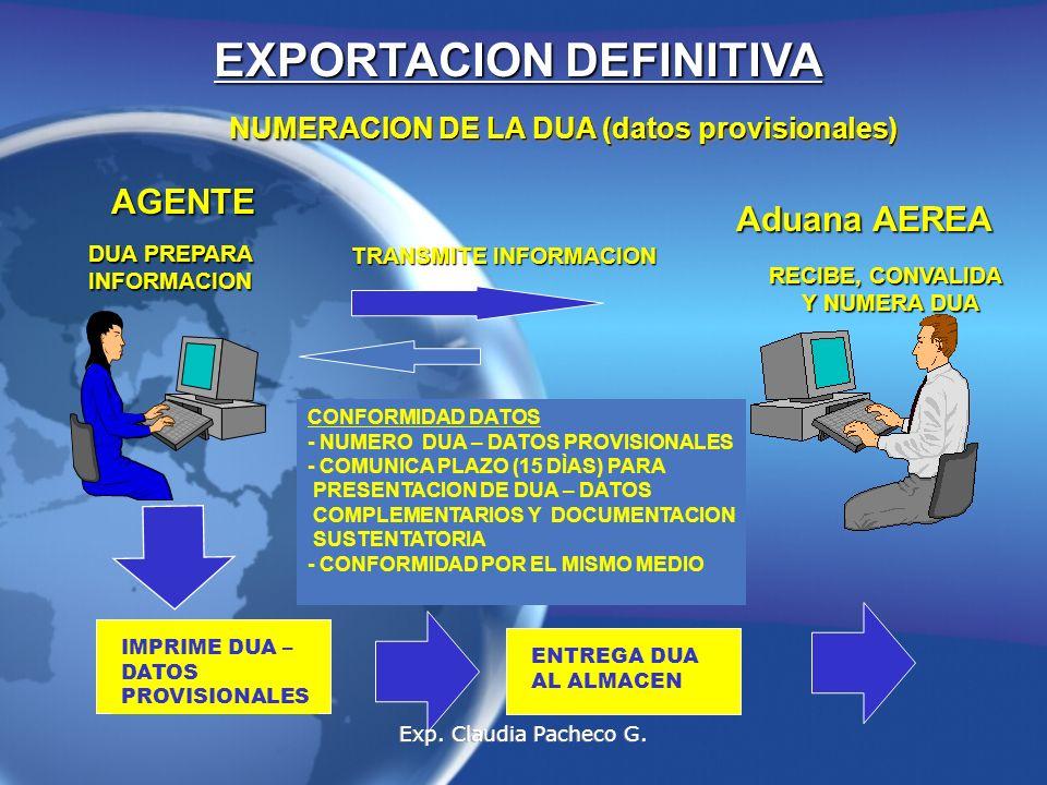 EXPORTACION DEFINITIVA NUMERACION DE LA DUA (datos provisionales)
