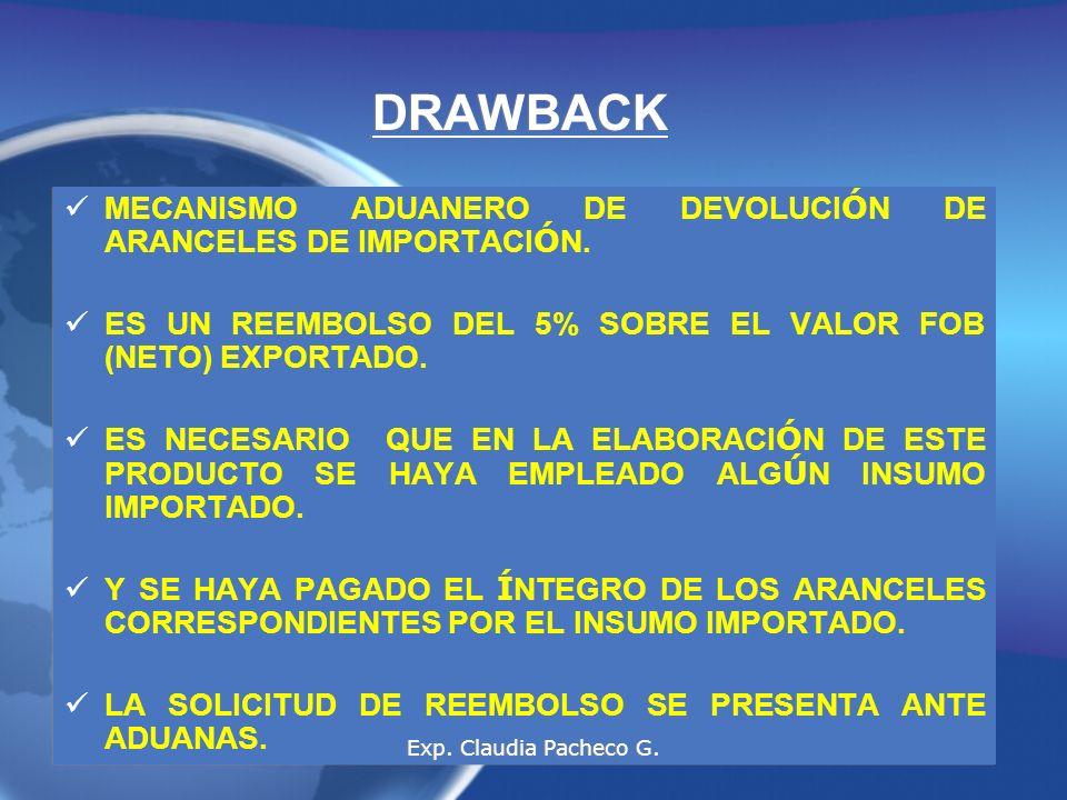 DRAWBACK MECANISMO ADUANERO DE DEVOLUCIÓN DE ARANCELES DE IMPORTACIÓN.