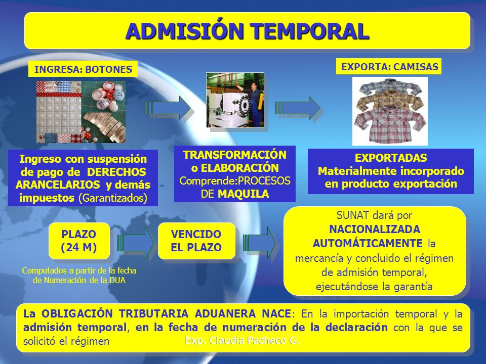 ADMISIÓN TEMPORAL TRANSFORMACIÓN o ELABORACIÓN