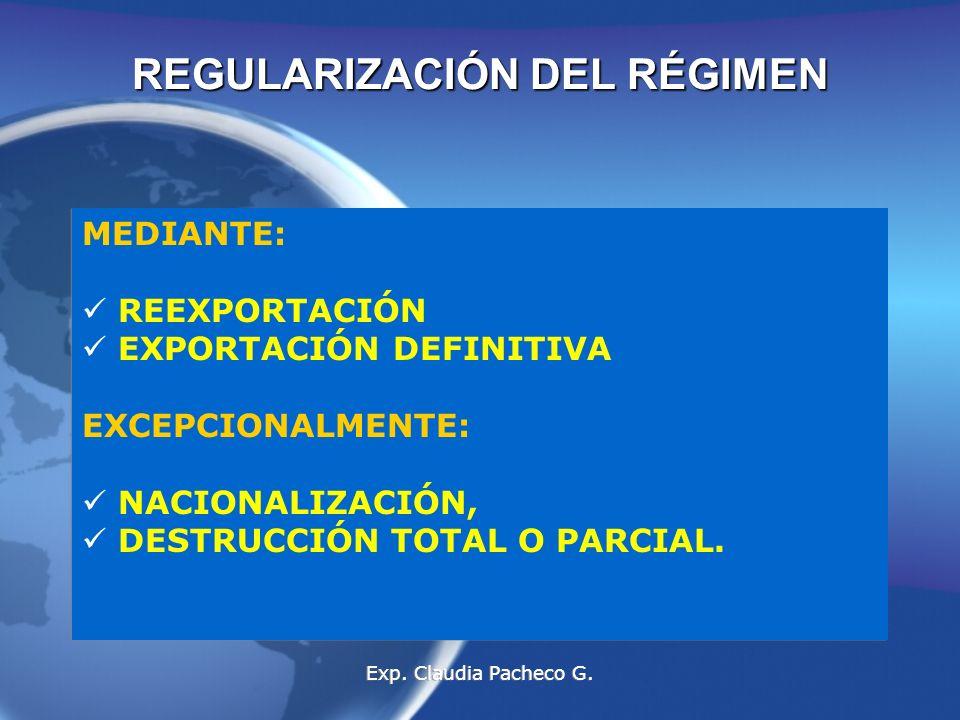 REGULARIZACIÓN DEL RÉGIMEN