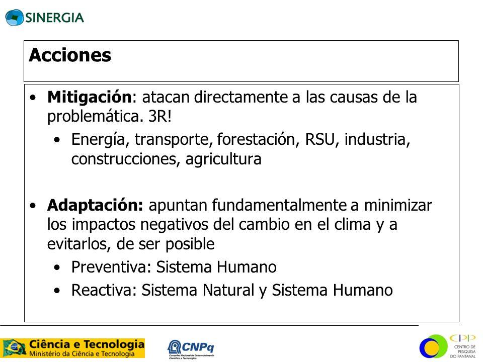 Acciones Mitigación: atacan directamente a las causas de la problemática. 3R!