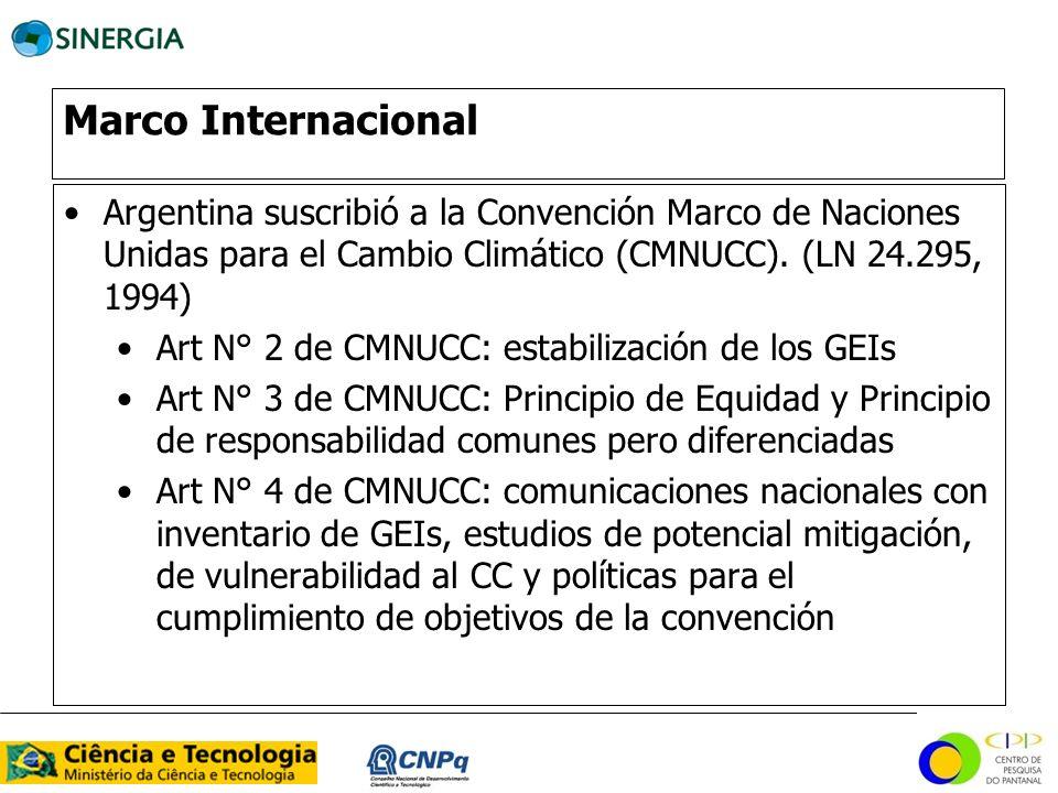 Marco Internacional Argentina suscribió a la Convención Marco de Naciones Unidas para el Cambio Climático (CMNUCC). (LN 24.295, 1994)