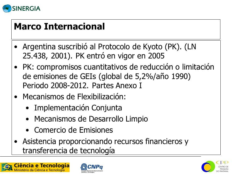Marco Internacional Argentina suscribió al Protocolo de Kyoto (PK). (LN 25.438, 2001). PK entró en vigor en 2005.