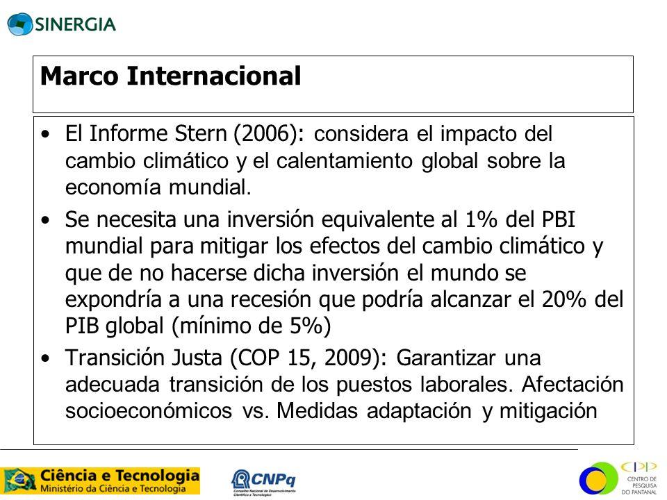 Marco Internacional El Informe Stern (2006): considera el impacto del cambio climático y el calentamiento global sobre la economía mundial.