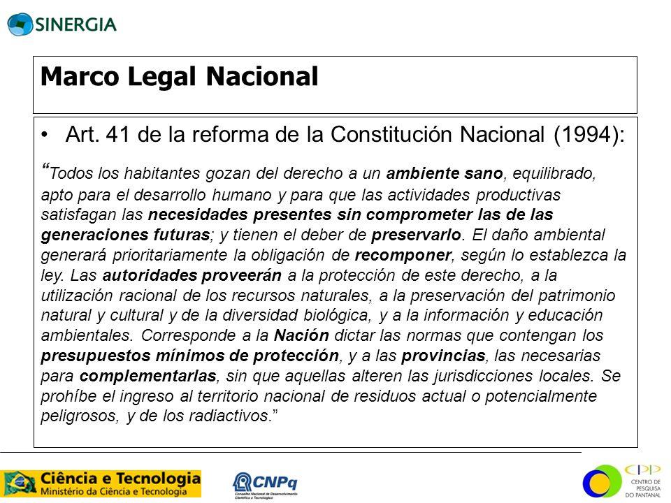 Marco Legal Nacional Art. 41 de la reforma de la Constitución Nacional (1994):