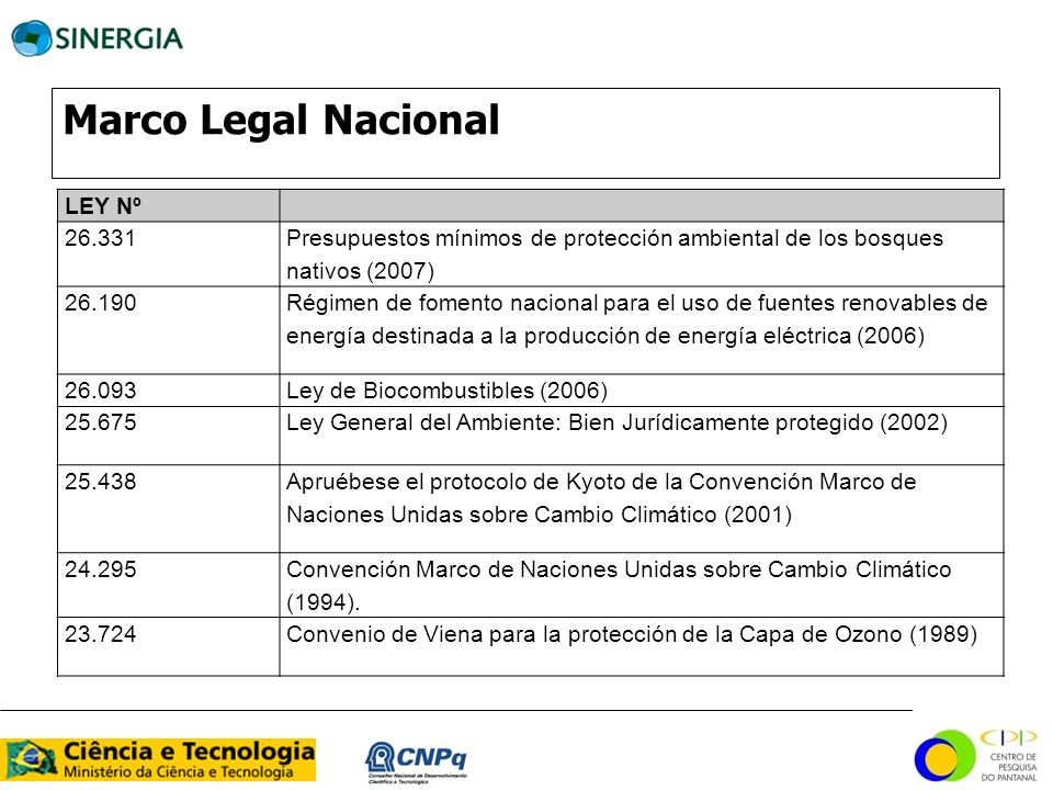 Marco Legal Nacional LEY Nº 26.331