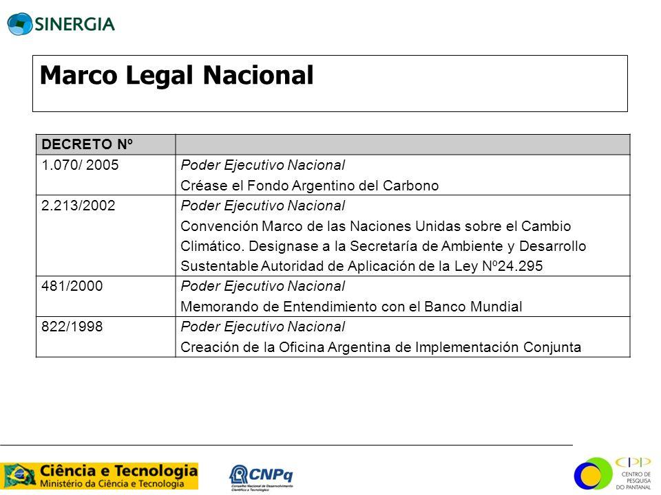 Marco Legal Nacional DECRETO Nº 1.070/ 2005 Poder Ejecutivo Nacional