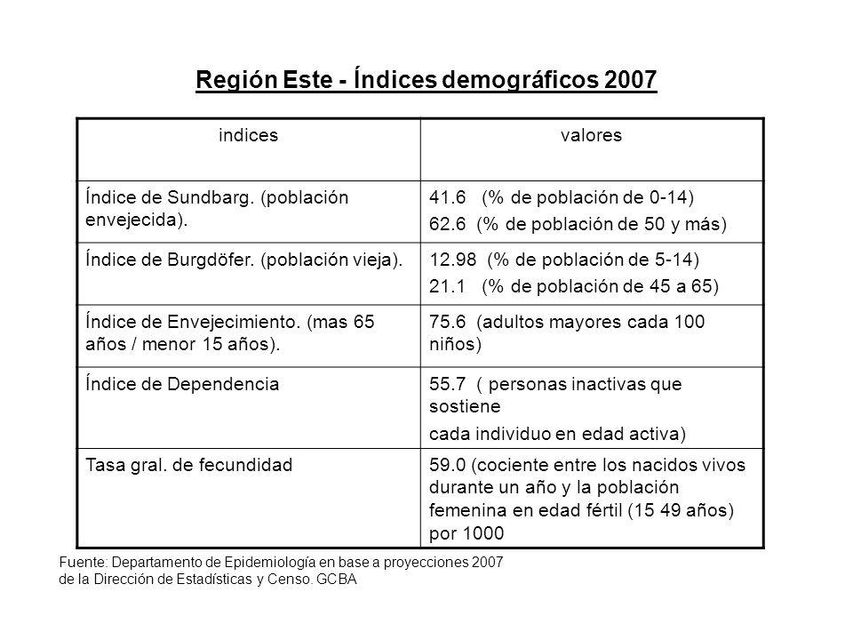 Región Este - Índices demográficos 2007