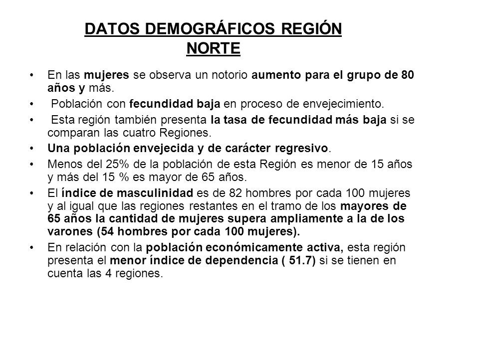 DATOS DEMOGRÁFICOS REGIÓN NORTE