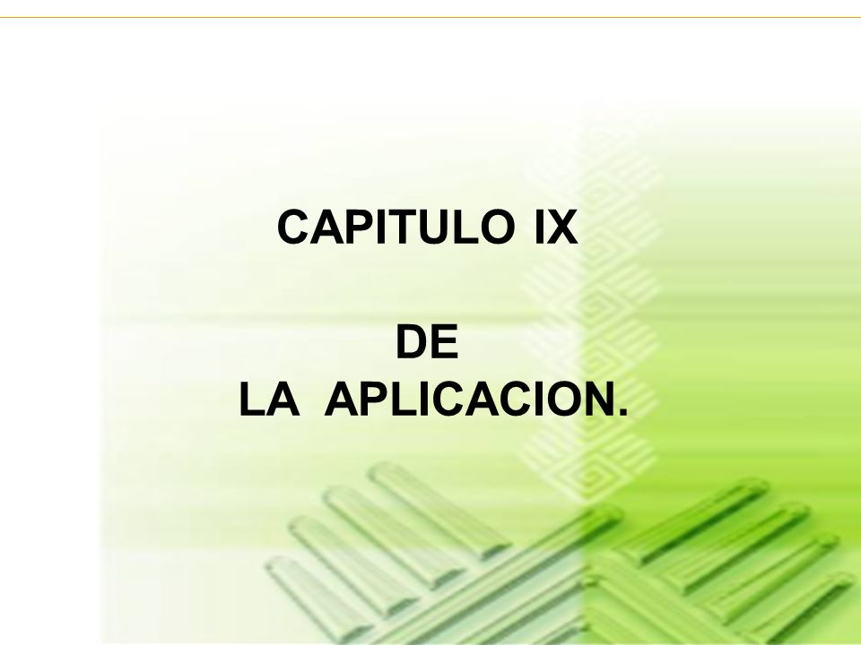 CAPITULO IX DE LA APLICACION.