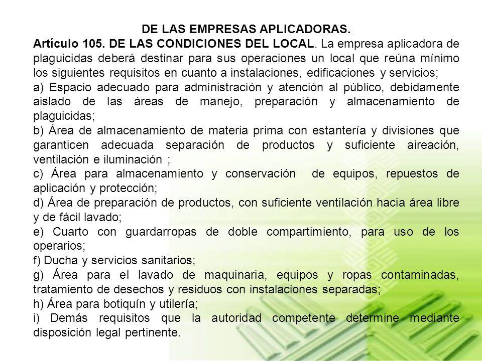 DE LAS EMPRESAS APLICADORAS.