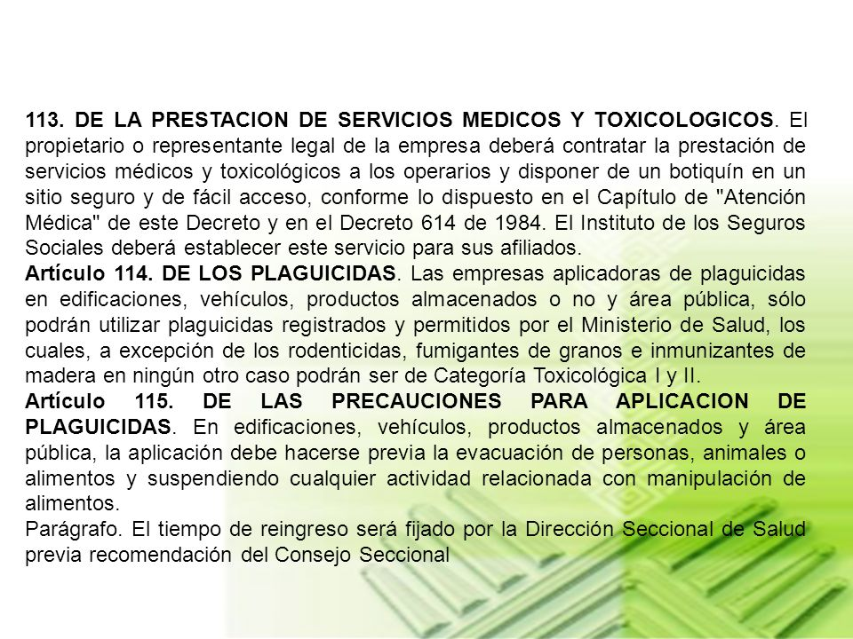 113. DE LA PRESTACION DE SERVICIOS MEDICOS Y TOXICOLOGICOS