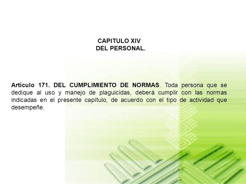 CAPITULO XIV DEL PERSONAL.