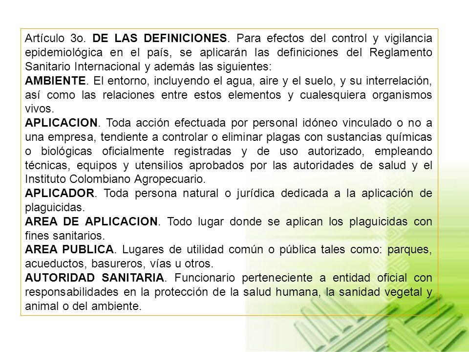 Artículo 3o. DE LAS DEFINICIONES