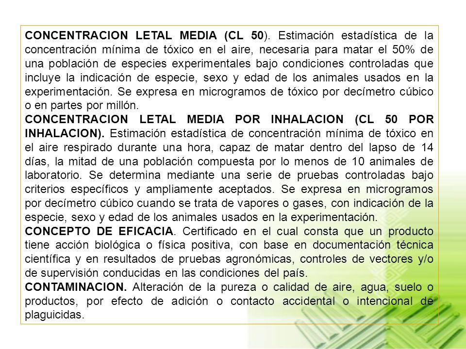 CONCENTRACION LETAL MEDIA (CL 50)
