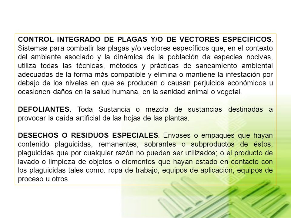 CONTROL INTEGRADO DE PLAGAS Y/O DE VECTORES ESPECIFICOS